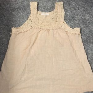 Beige crochet tank top